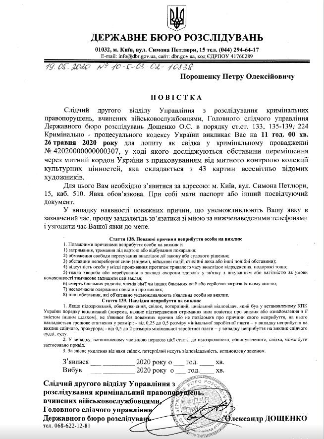 Петр Порошенка викликають у ДБР через справу про контрабанду цінних картин