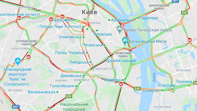Затори у Києві 30 червня