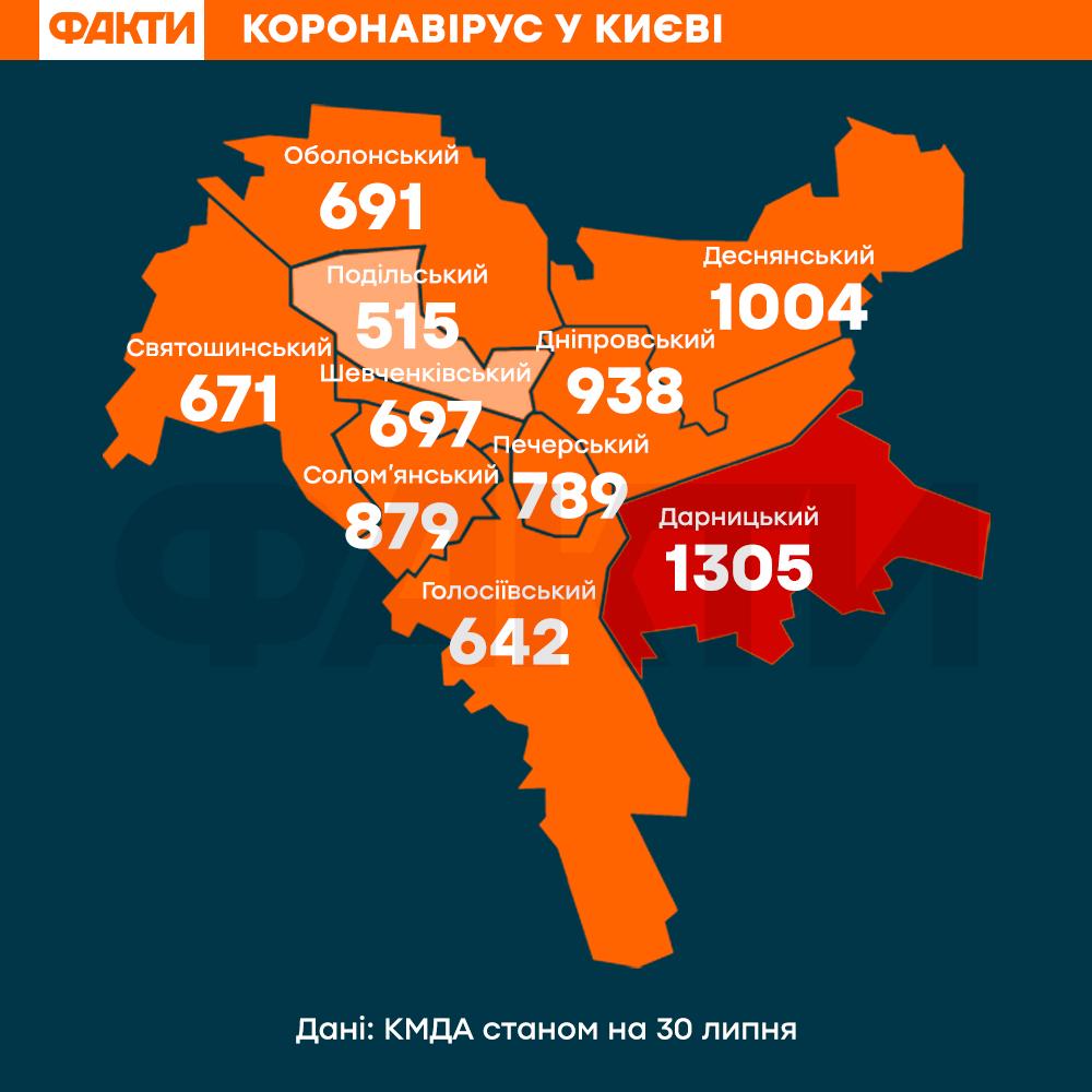 Карта коронавірус київ 30 липня