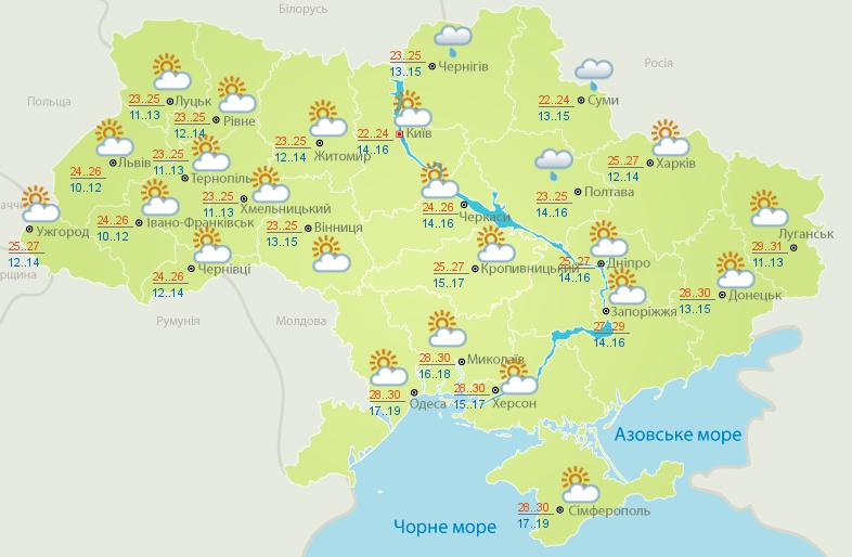 погода в Україні 26 серпня 2020