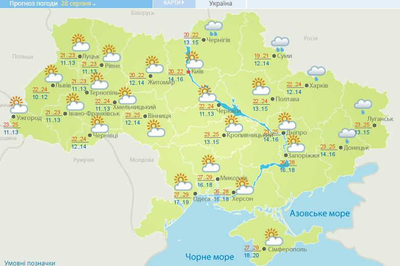 Погода на 28 серпня 2020 в Україні – прогноз погоди на сьогодні
