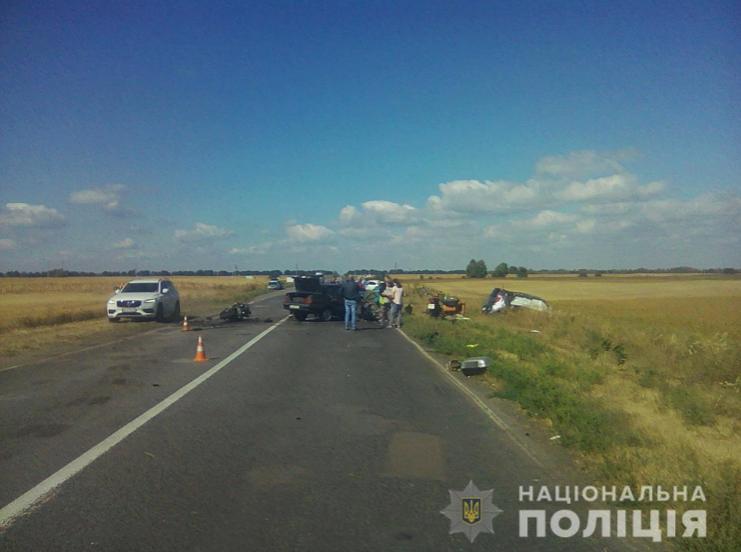 ДТП під Києвом: зіткнулися три авто та мотоцикл