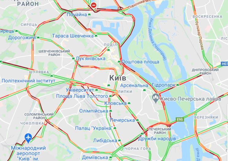 Яка ситуація на дорогах Києва (КАРТА)