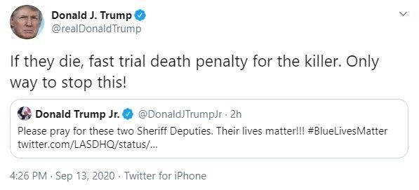 Нужно будет казнить: расстрел полицейских в США привлек внимание Трампа