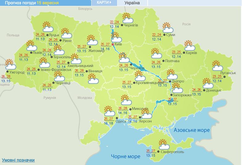 Погода на 15 вересня 2020 в Україні – прогноз погоди на сьогодні