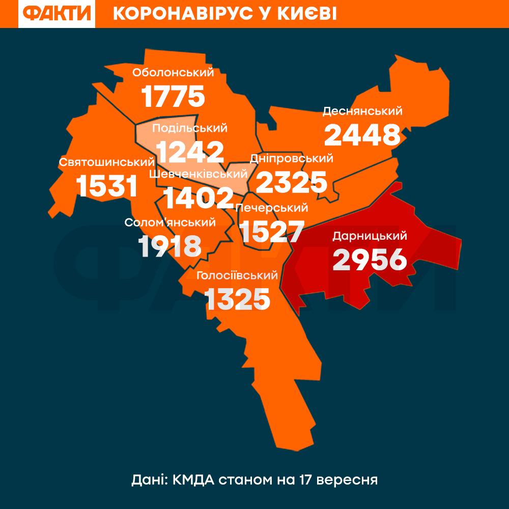 Карта коронавірусу у Києві 17 вересня