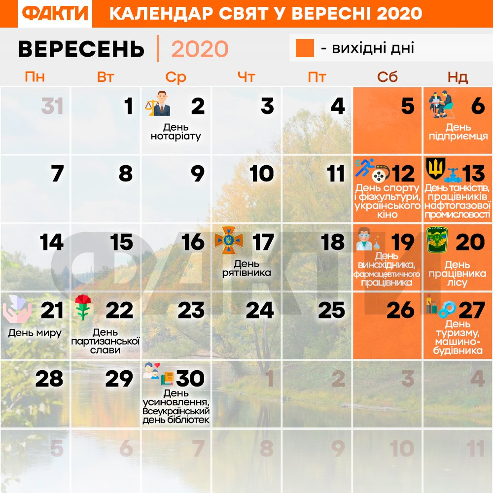 Календар свят на вересень 2020
