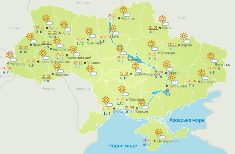 Погода на 23 вересня в Україні – прогноз погоди на сьогодні