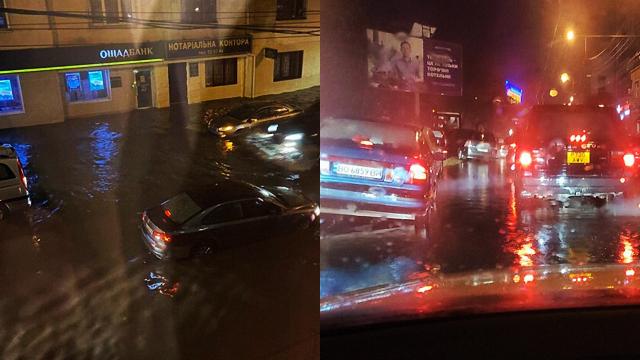 Воды по колено: мощный ливень в Тернополе затопил центральные улицы