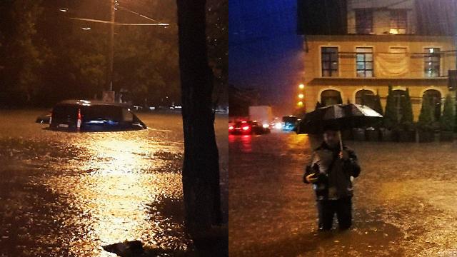 Води по коліна: потужна злива у Тернополі затопила центральні вулиці
