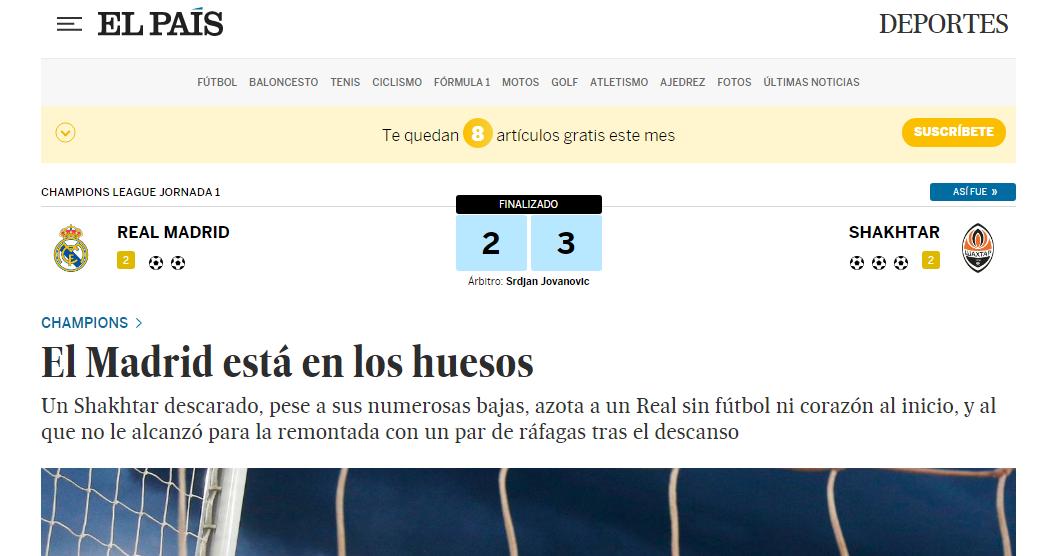 Огляд іспанської преси після матчу Реал – Шахтар