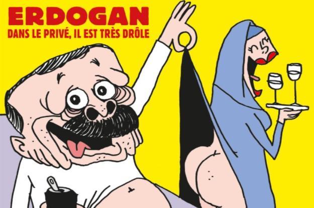 У трусах задирає жінці сукню: Charlie Hebdo намалював карикатуру на Ердогана