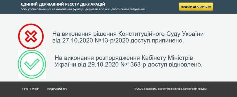 НАПК возобновил работу реестра электронных деклараций
