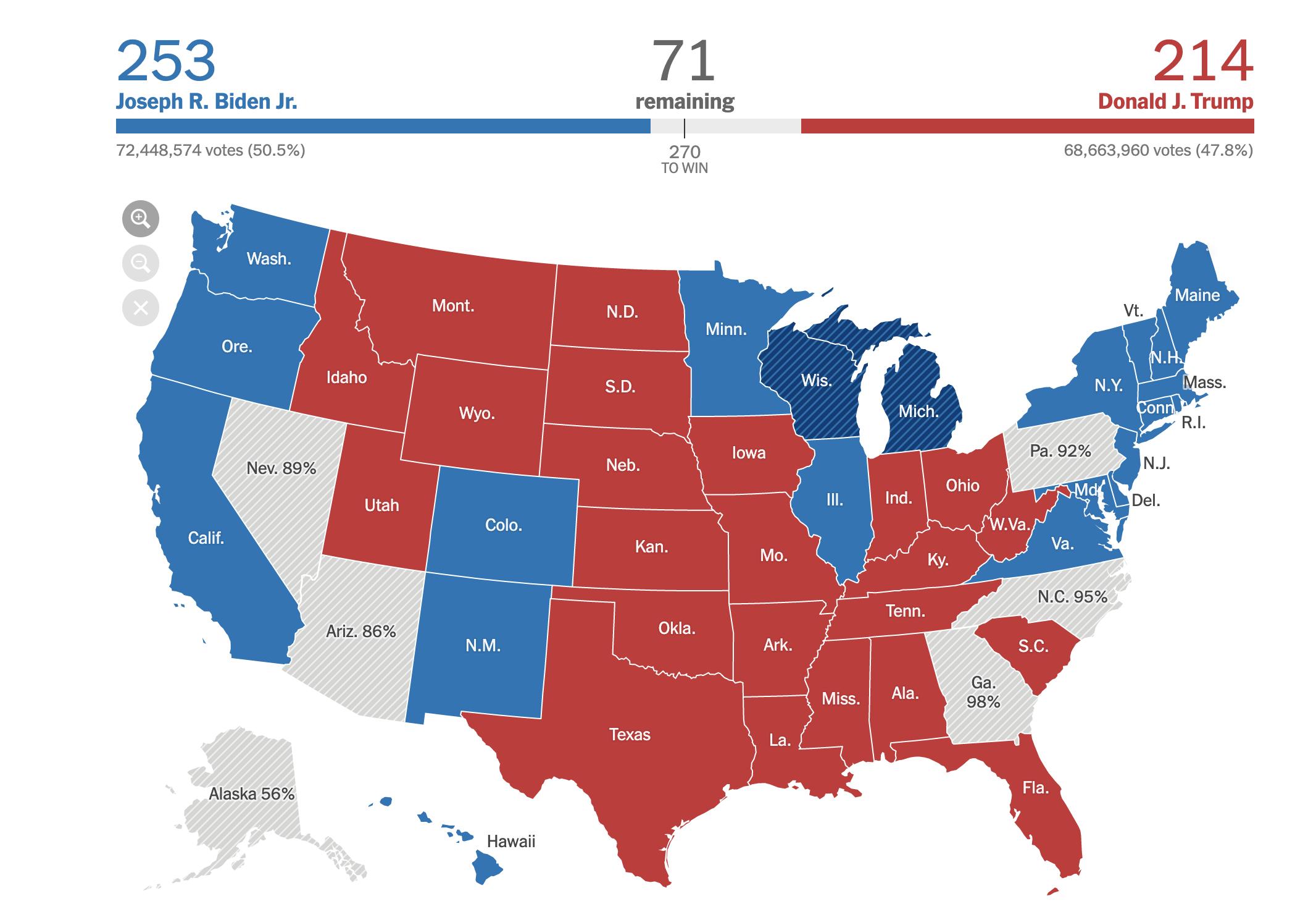 Результаты выборов в США: по прогнозам, у Байдена пока больше голосов выборщиков, чем у Трампа