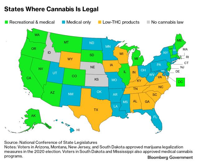 У США п'ять штатів підтримали легалізацію канабісу