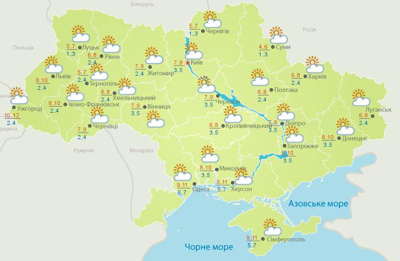 Погода на 10 листопада 2020 в Україні – прогноз погоди на сьогодні