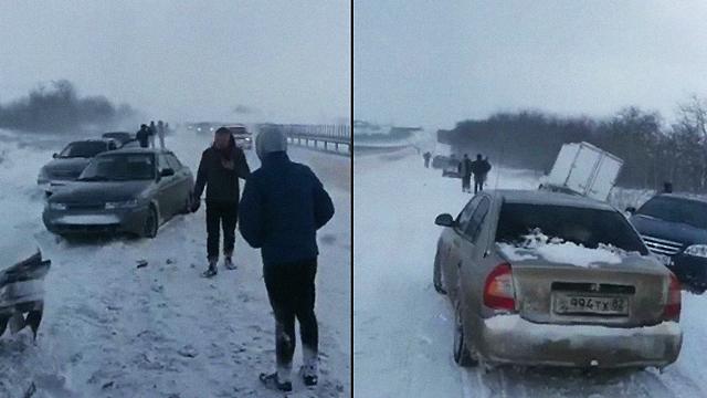 Засніжену дорогу ніхто не чистив: в окупованому Криму зіткнулося 32 автомобілі
