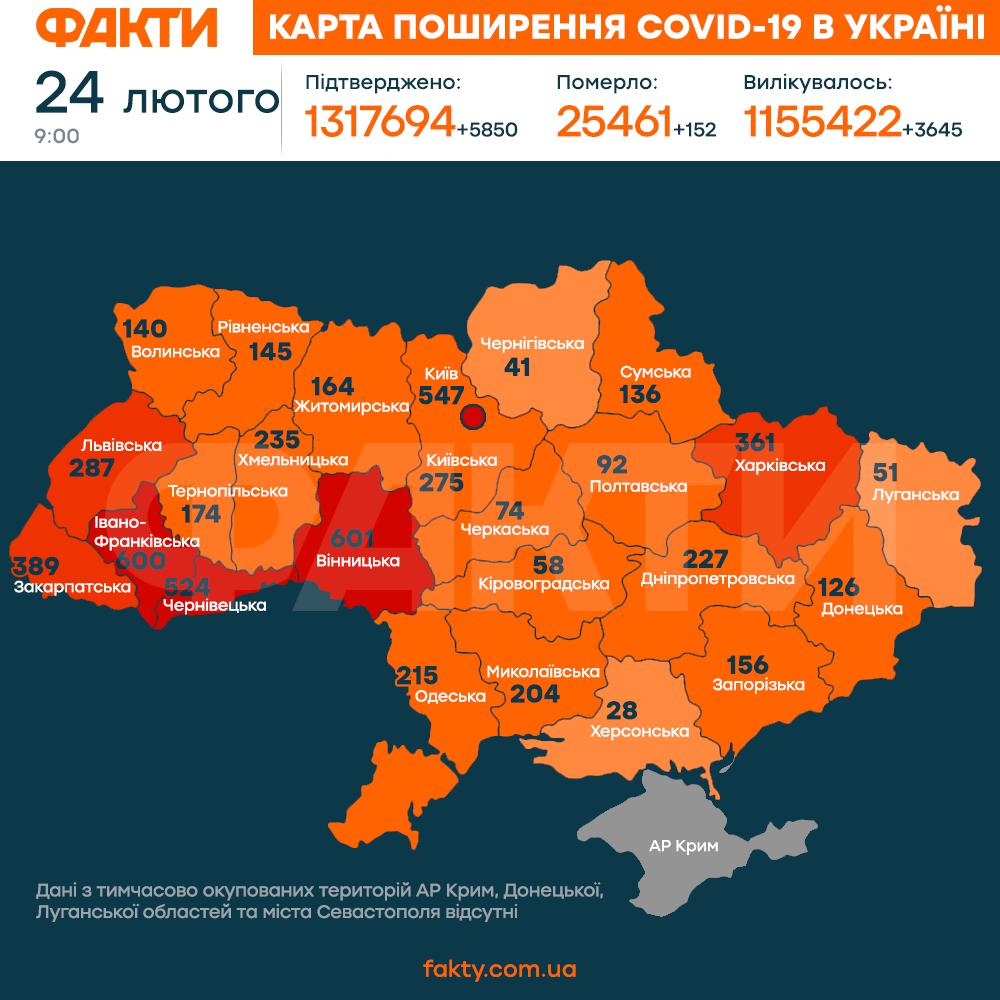 Коронавірус в Україні 24 лютого 2021: оперативна статистика МОЗ