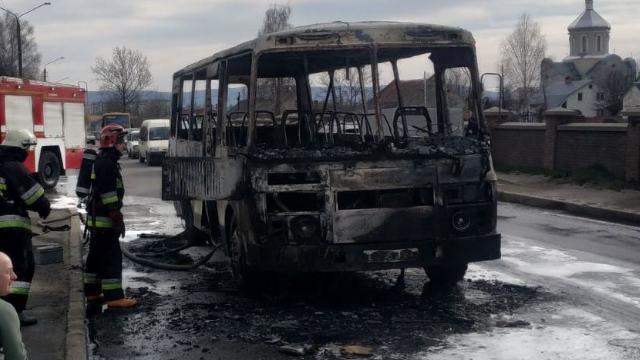 загорівся автобус у Дрогобичі