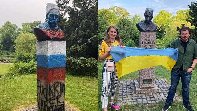 Перед матчем Дания-Россия: в Копенгагене вандалы повредили памятник Шевченко